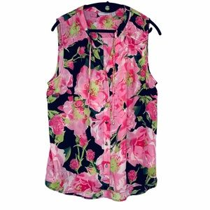 Halogen floral sleeveless button front hi-lo top